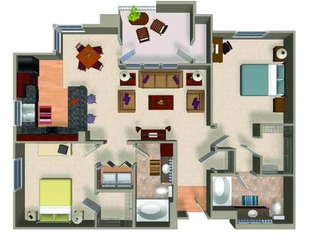 Two bedroom two bathroom B2 floor plan at Carillon Apartments in Woodland Hills, CA