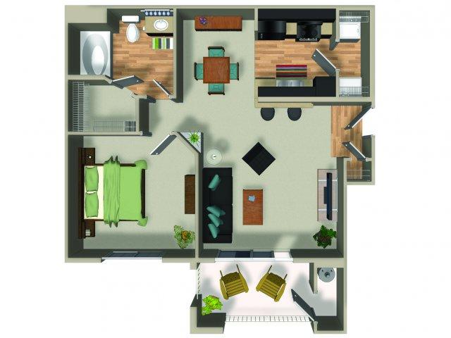 1 Bedroom 1 Bath A1 Floorplan at Dakota Apartments in Winchester, CA