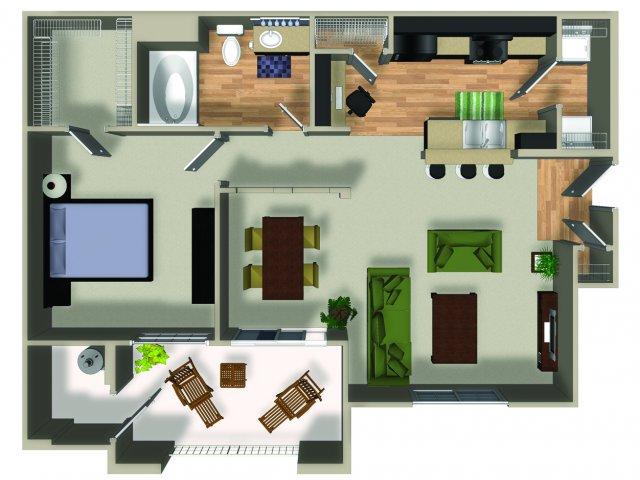 1 Bedroom 1 Bath A2 Floorplan at Dakota Apartments in Winchester, CA
