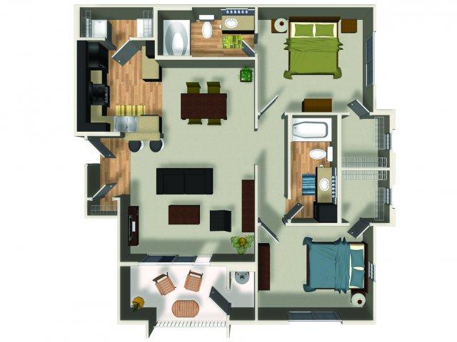 2 Bedroom 2 Bath B2 Floorplan at Dakota Apartments in Winchester, CA