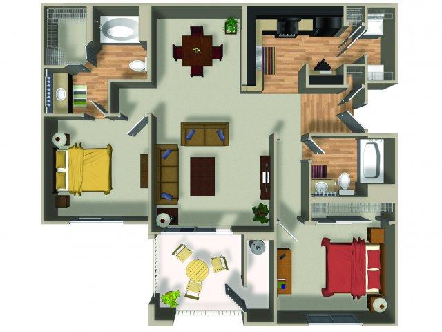 2 Bedroom 2 Bath B12 Floorplan at Dakota Apartments in Winchester, CA