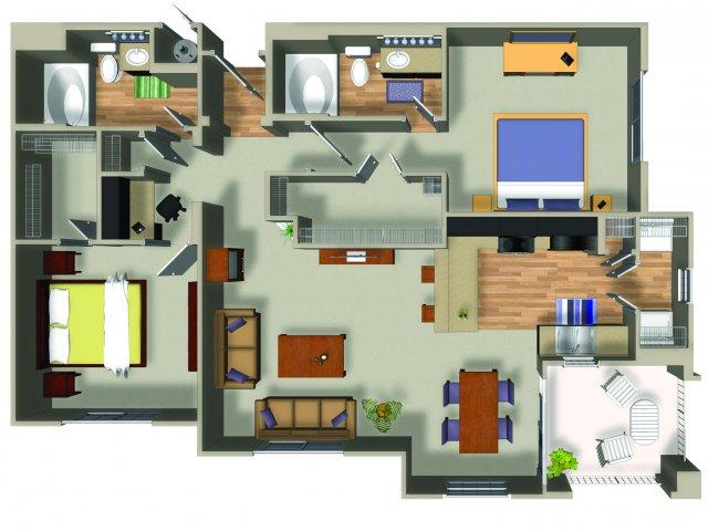 2 Bedroom 2 Bath B3 Floorplan at Dakota Apartments in Winchester, CA