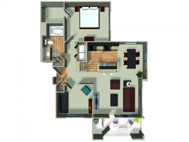 1 Bedroom 1 Bath A3 Floorplan at Dakota Apartments in Winchester, CA