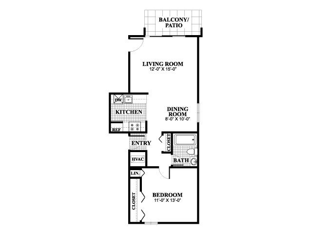 One bedroom one bathroom Classical A floorplan at University Heights Apartments in Providence, RI