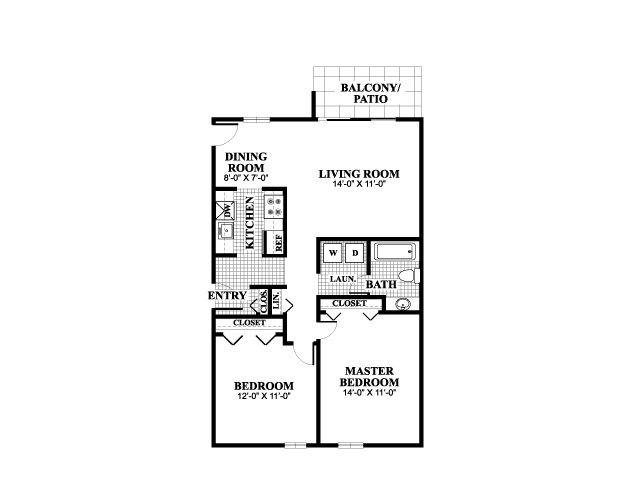 Two bedroom one bathroom Thayer B floorplan at University Heights Apartments in Providence, RI