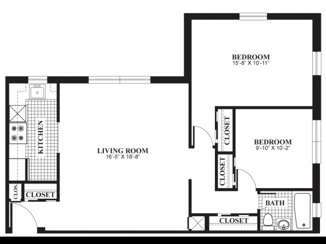 Two bedroom one bathroom B3 floorplan at The Barrington Apartments in Silver Spring, MD