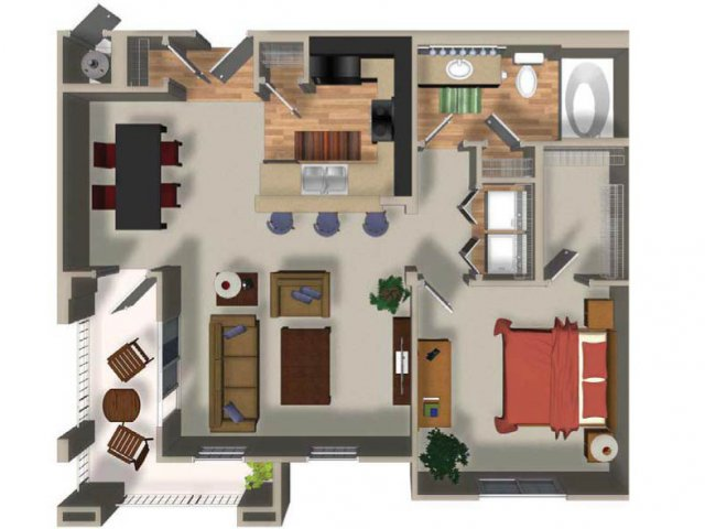 1 Bedroom 1 Bath A12 Floorplan at Dakota Apartments in Winchester, CA