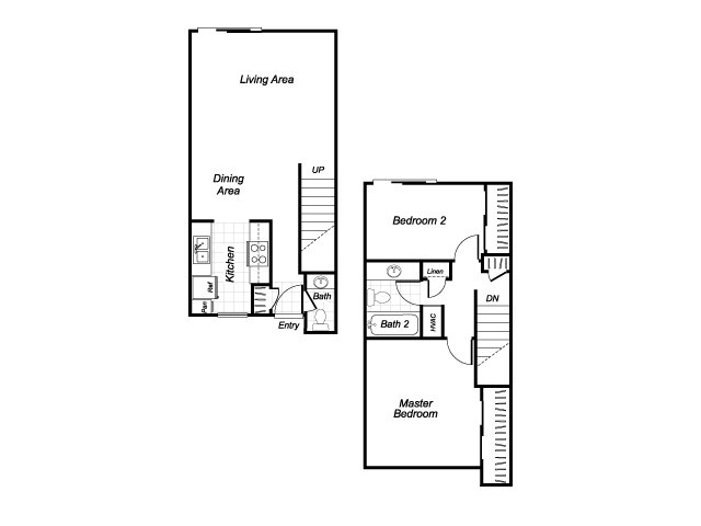 Two bedroom one and a half bathroom B4 floorplan at Westchester Park Apartments in Tustin, CA