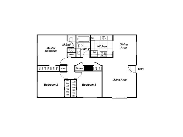 Three bedroom one and a half bathroom C1 floorplan at Westchester Park Apartments in Tustin, CA