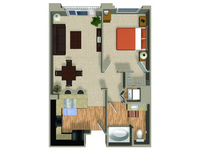 One bedroom one bathroom Renew floorplan at Alterra and Pravada at Grossmont Trolley in La Mesa, CA