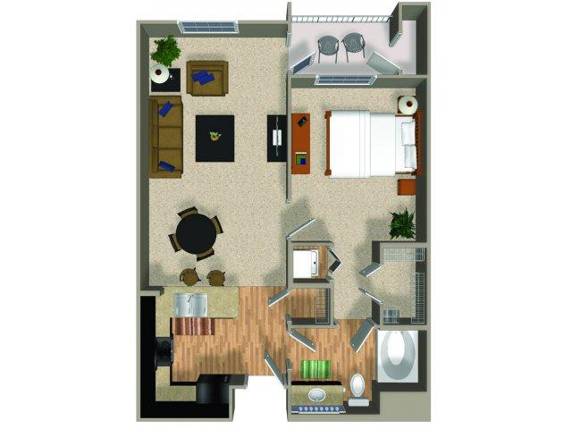 One bedroom one bathroom Energy floorplan at Alterra and Pravada at Grossmont Trolley in La Mesa, CA