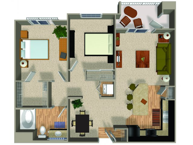Two bedroom one bathroom Conserve floorplan at Alterra and Pravada at Grossmont Trolley in La Mesa, CA