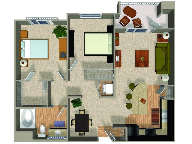 Two bedroom one bathroom Conserve floorplan at Alterra and Pravada at Grossmont Trolley in La Mesa, CA