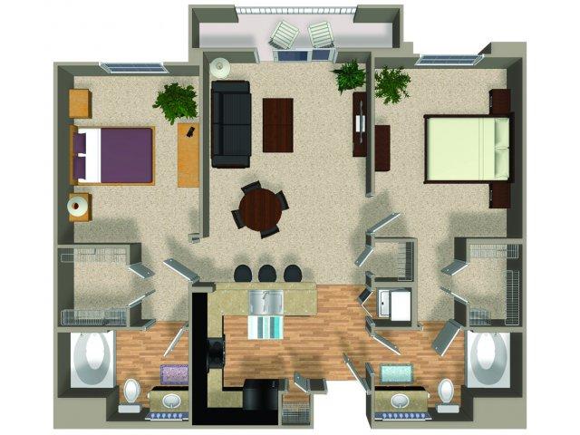 Two bedroom two bathroom Inspire floorplan at Alterra and Pravada at Grossmont Trolley in La Mesa, CA