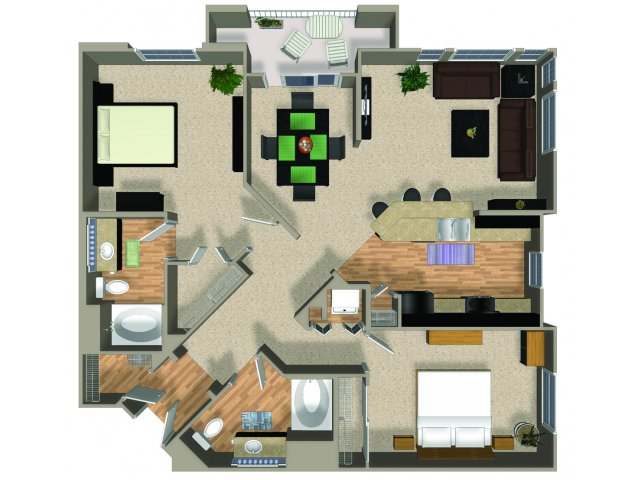 Two bedroom two bathroom Element floorplan at Alterra and Pravada at Grossmont Trolley in La Mesa, CA