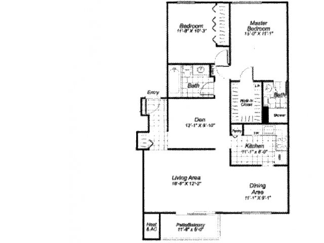Two bedroom two bathroom B6 Floorplan at Oakfield Apartment Homes in Wheaton, MD