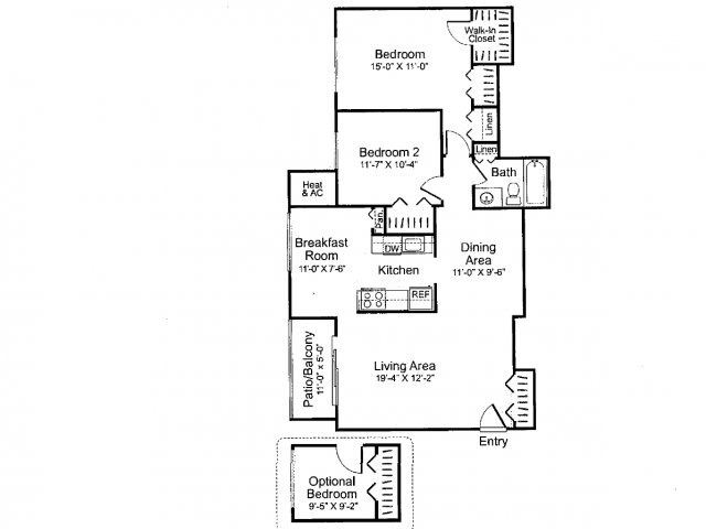 Three bedroom one bathroom C1 Floorplan at Oakfield Apartment Homes in Wheaton, MD