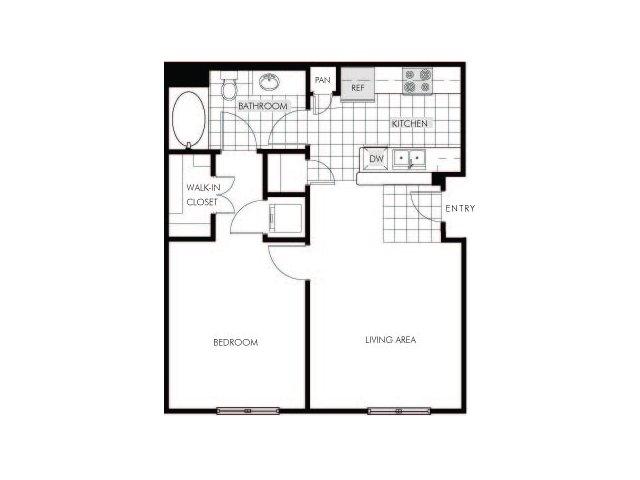 1 bedroom 1 bathroom apartment A2 floor plan at Talavera Apartments in Denver, CO