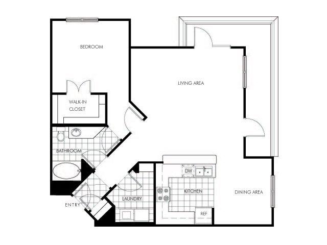 1 bedroom 1 bathroom apartment A7 floor plan at Talavera Apartments in Denver, CO
