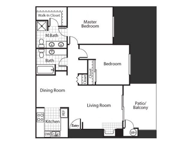 Two bedroom two bathroom B2 floor plan at Bennington Apartments in Fairfield, CA
