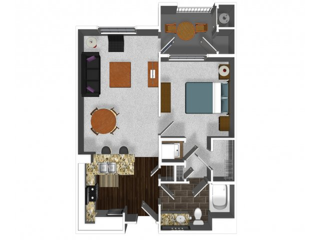 One bedroom one bathroom A1 floor plan at Cerano Apartments in Milpitas, CA