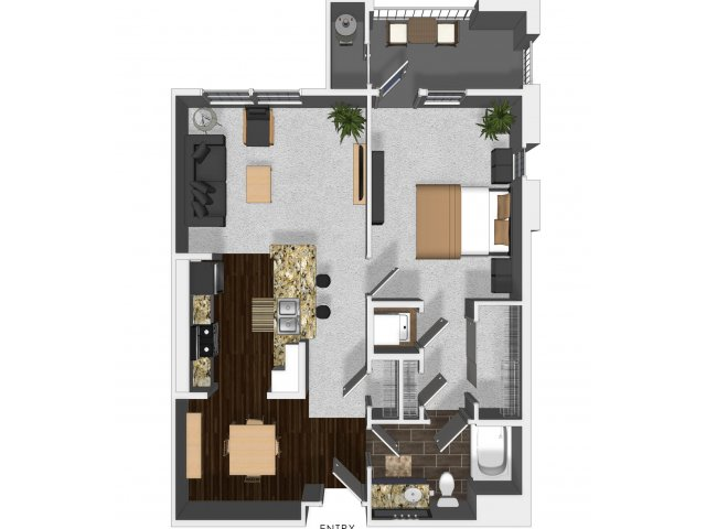 One bedroom one bathroom A3 floor plan at Cerano Apartments in Milpitas, CA