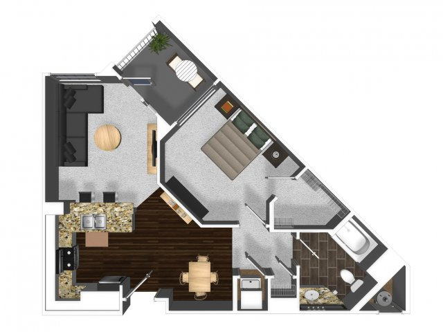 One bedroom one bathroom A5 floor plan at Cerano Apartments in Milpitas, CA