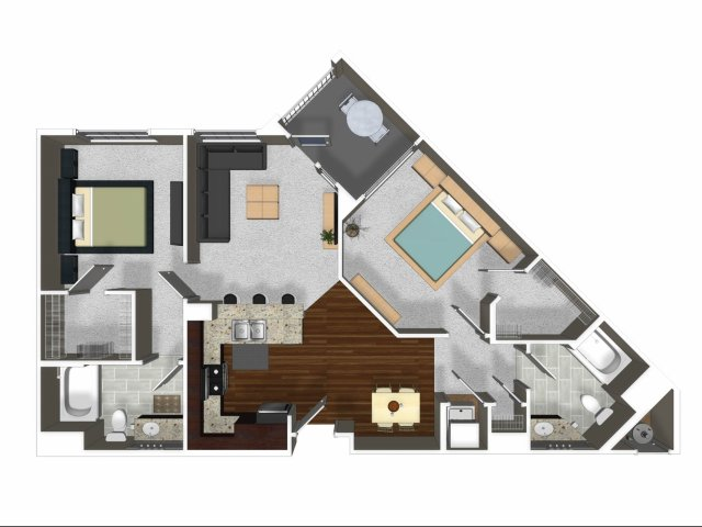 Two bedroom two bathroom B3 floor plan at Cerano Apartments in Milpitas, CA