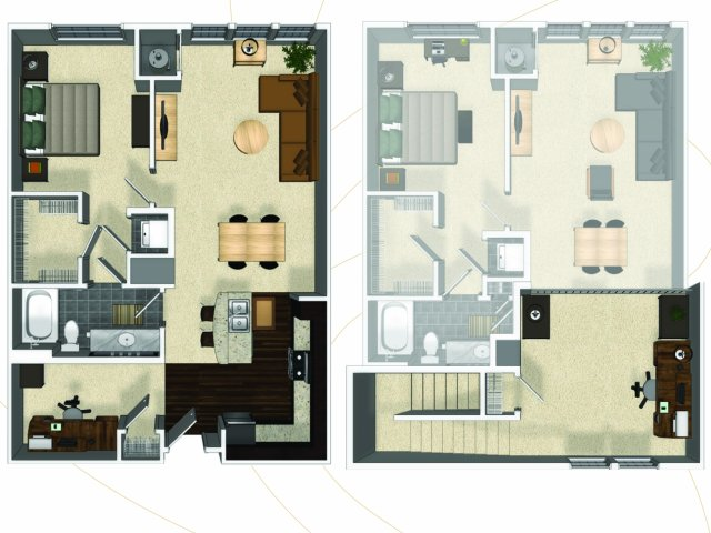 One bedroom one bathroom A7I floorplan at The Enclave at Potomac Club Apartments in Woodbridge, VA