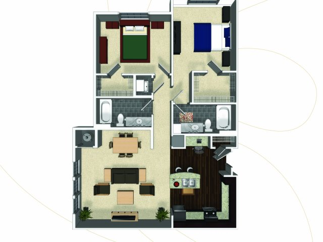 Two bedroom two bathroom B4 floorplan at The Enclave at Potomac Club Apartments in Woodbridge, VA