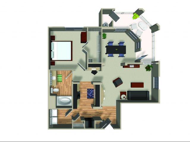 1 Bedroom 1 Bath A21 Floorplan at Dakota Apartments in Winchester, CA
