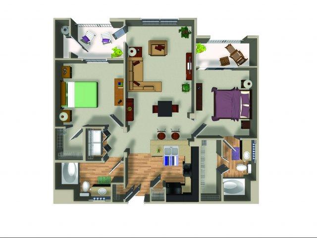 2 Bedroom 2 Bath B13 Floorplan at Dakota Apartments in Winchester, CA