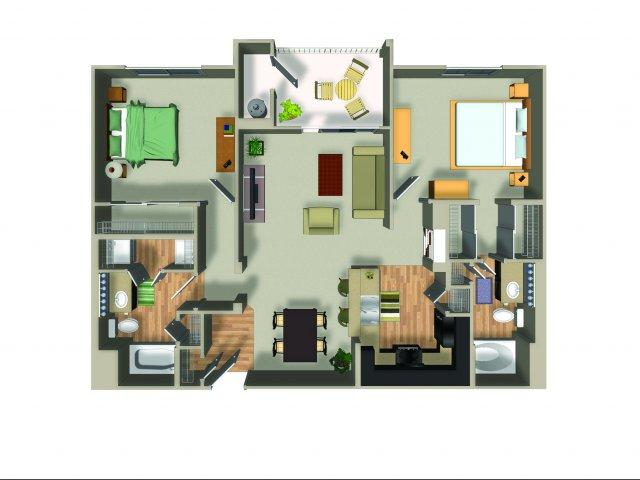 2 Bedroom 2 Bath B22 Floorplan at Dakota Apartments in Winchester, CA