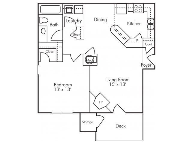 One bedroom one bathroom A5 Floorplan at Highland Lake Apartments in Decatur, GA