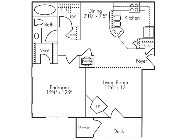 One bedroom one bathroom A6 Floorplan at Highland Lake Apartments in Decatur, GA