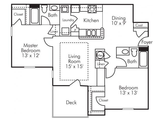 Two bedroom two bathroom B2 Floorplan at Highland Lake Apartments in Decatur, GA