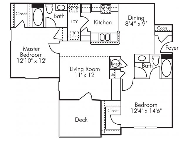 Two bedroom two bathroom B3 Floorplan at Highland Lake Apartments in Decatur, GA