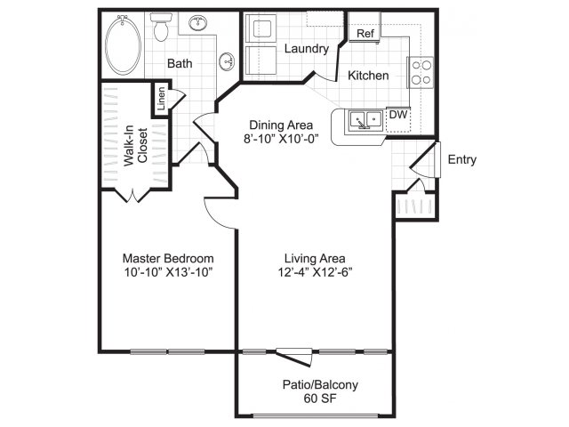 One bedroom one bathroom A1 floorplan at Woodway Square Apartments in Houston, TX