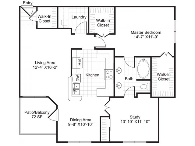 One bedroom one bathroom with den A6 floorplan at Woodway Square Apartments in Houston, TX