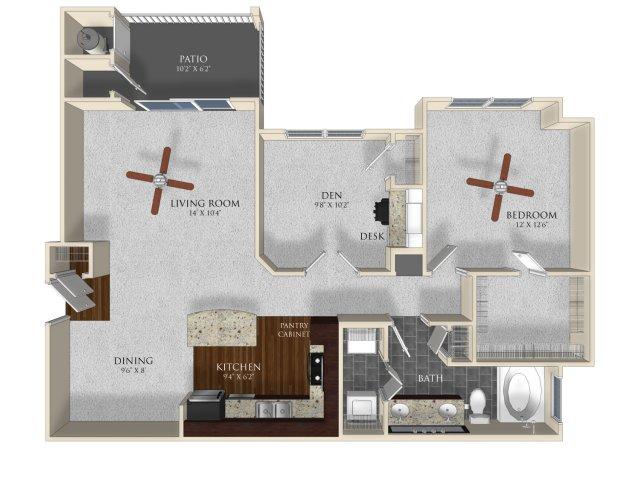 1 bedroom 1 bathrooms apartment A42 floorplan at Atley on the Greenway in Ashburn, VA