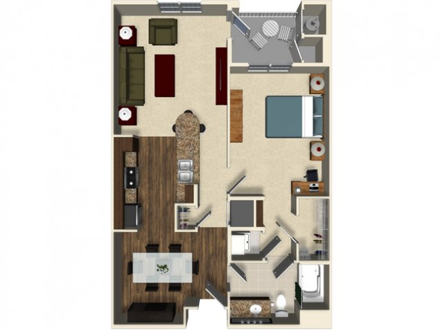 1 bedroom 1 bathroom apartment A3 floor plan at The Verdant Apartments in San Jose, CA