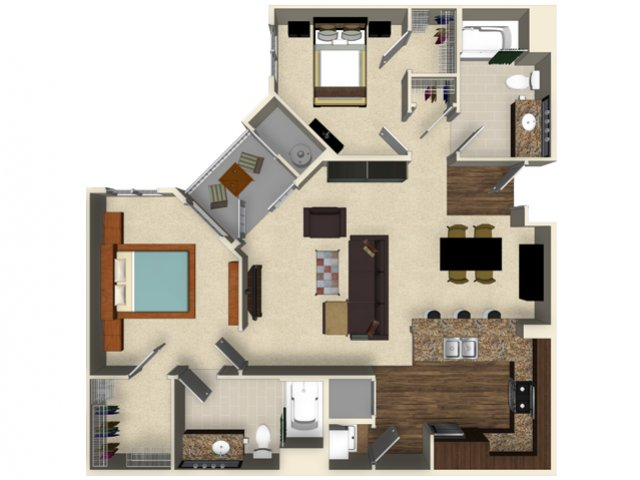 2 bedroom 2 bathroom apartment B3A floor plan at The Verdant Apartments in San Jose, CA