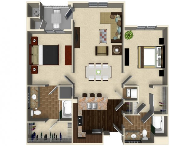 2 bedroom 2 bathroom apartment B4 floor plan at The Verdant Apartments in San Jose, CA