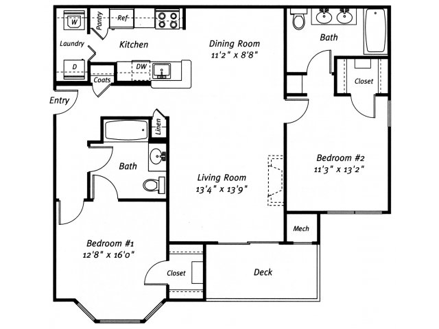 2 bedroom 2 bathroom B1 floor plan at Grand Reserve Orange Apartments in Orange, CT