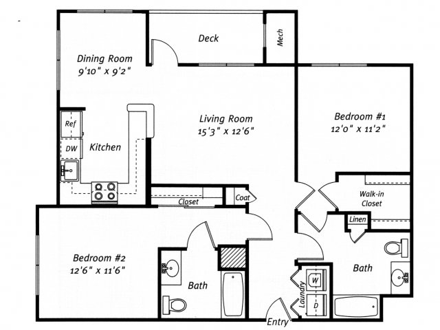 2 bedroom 2 bathroom B2 floor plan at Grand Reserve Orange Apartments in Orange, CT