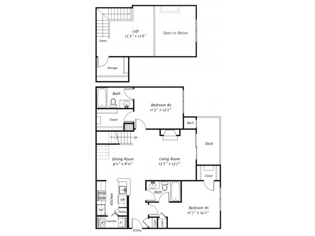 2 bedroom 2 bathroom B3L floor plan at Grand Reserve Orange Apartments in Orange, CT