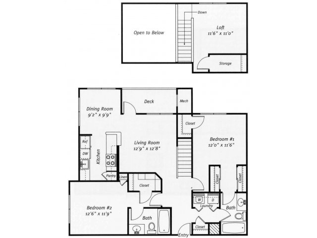 2 bedroom 2 bathroom B4L floor plan at Grand Reserve Orange Apartments in Orange, CT