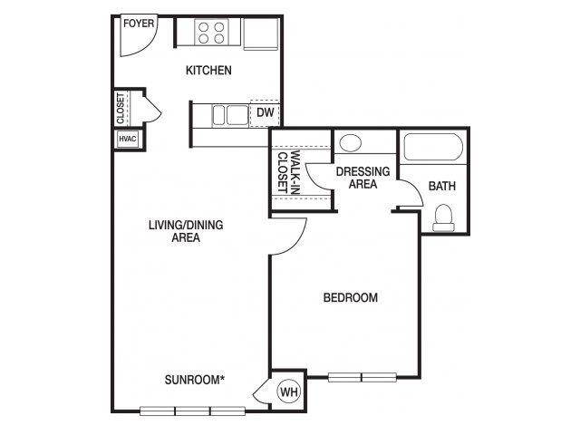 One bedroom one bathroom A1 and A11 floorplan at The Prato at Midtown Apartments in Atlanta, GA