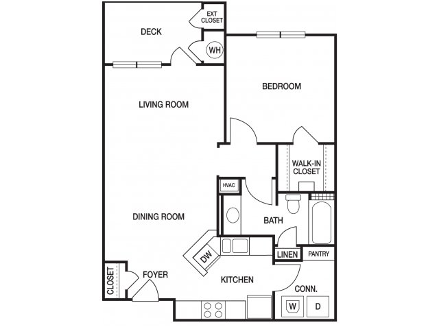 One bedroom one bathroom A4 floorplan at The Prato at Midtown Apartments in Atlanta, GA