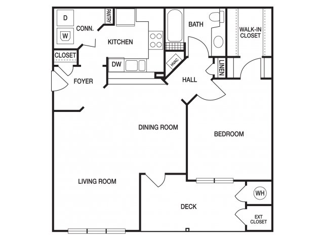 One bedroom one bathroom A5 floorplan at The Prato at Midtown Apartments in Atlanta, GA